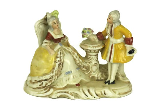German Porcelain Figurines of Courting Couple, Marquis and Marquise Figures, Vintage Engagement Gift