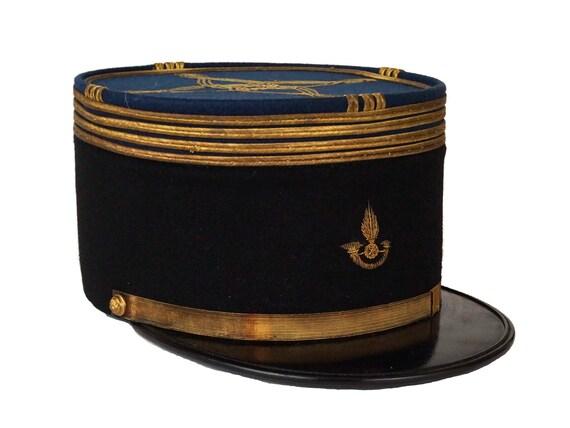 Vintage French Military Uniform Hat, Customs Officers Cap, Navy Blue and Gold Kepi Helmet