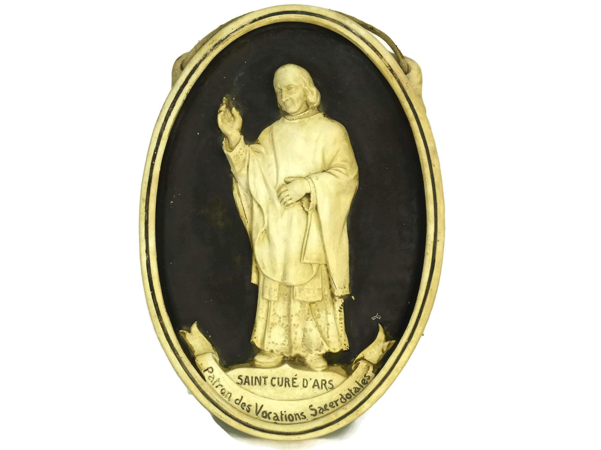 St John Vianney French Antique Wall Plaque. Saint Curé d\'Ars ...