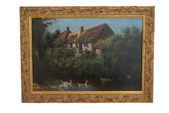 Antique Country Farmhouse and Duck Painting, Framed French River Landscape Wall Art Signed Courdil