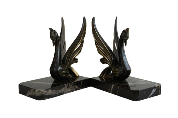 Art Deco Swan Figurine Bookends, French Vintage Office Decor, Pair of Bird Book Ends
