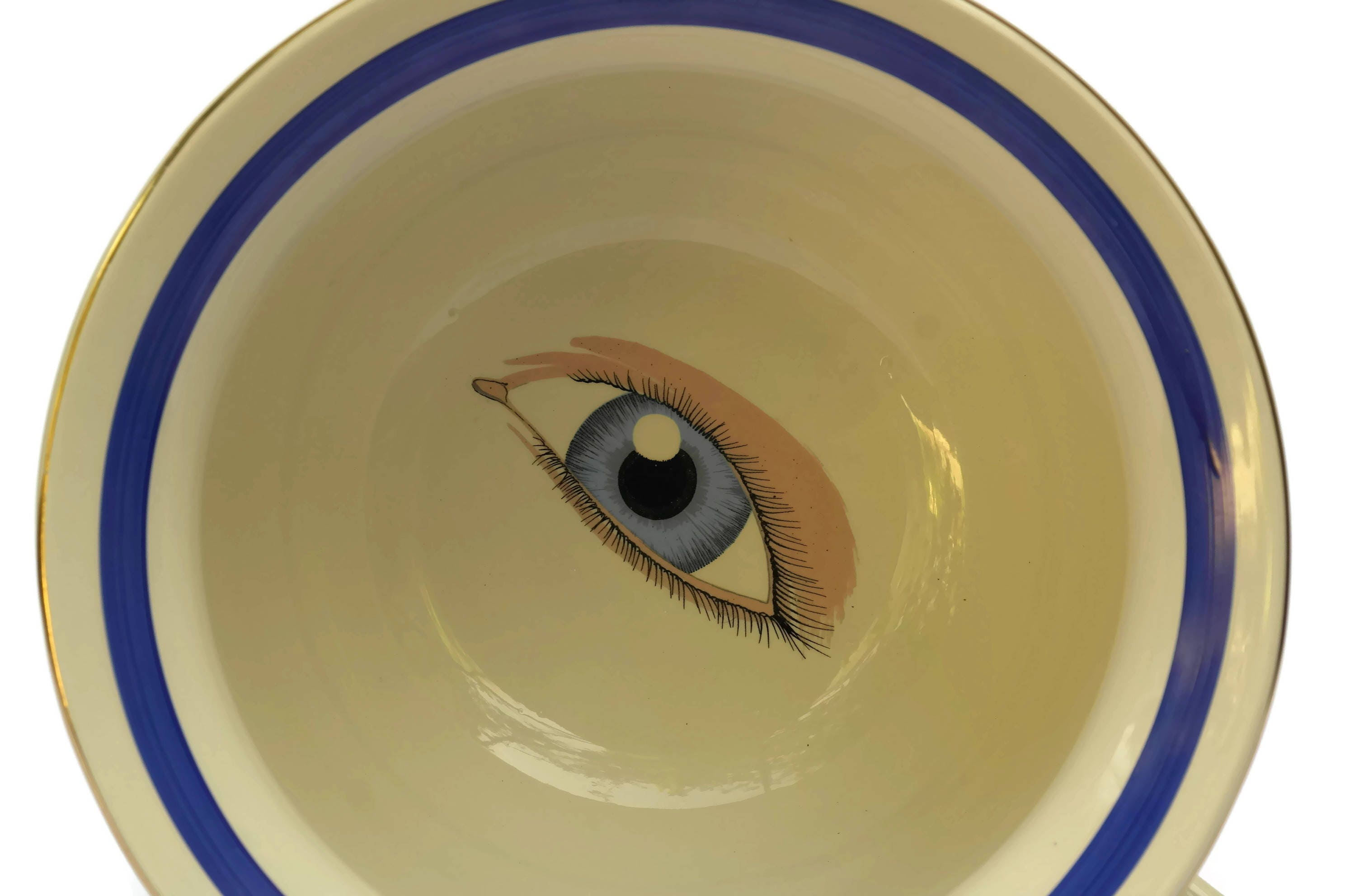 Vintage French Porcelain Chamber Pot With Peeping Eye Traditional