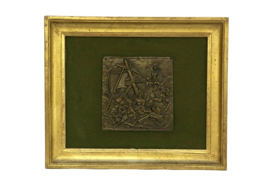 Antique French Bronze Gericault plaque, The Raft of the Medusa, Historical Wall Art, Nautical Decor