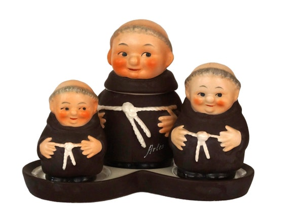 Goebel Friar Tuck Condiment Set, Salt and Pepper Shakers with Mustard Jar