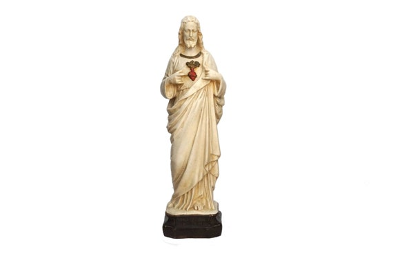 Sacred Heart of Jesus Statue, Antique French Catholic Art Figure