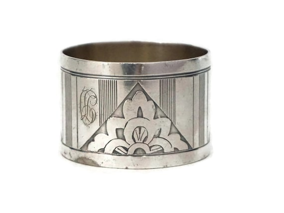 Art Deco Silver Napkin Ring with Engraved J D Monogram Initial, French Silverware Serviette Holder