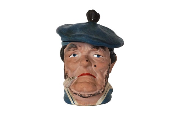 Old French Sailor Tobacco Jar Humidor, Terracotta Nautical Character Head Canister