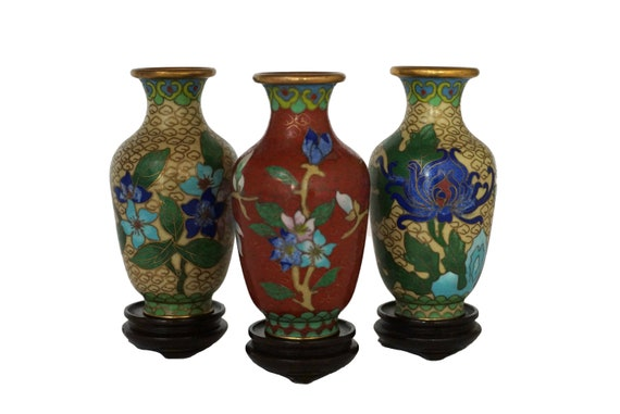 Chinese Cloisonne Urn Vases on Stands, Set of 3 with Cherry Blossom Flowers, Enamel and Brass Asian Home Decor
