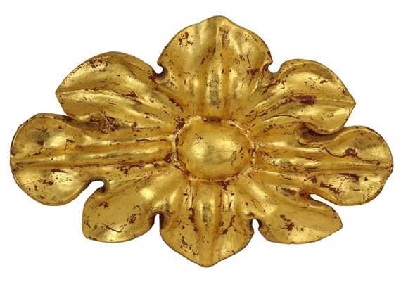 Antique Gilt Carved Wood Flower Wall Hanging