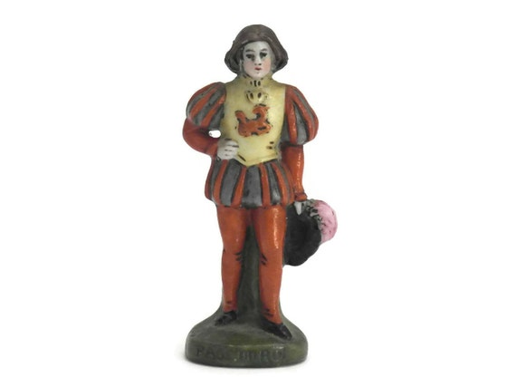 King's Page Porcelain Figurine. Scheibe Alsbach Miniature. German Miniature Porcelain Soldier.