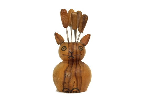 Vintage Cat Figure Cocktail Picks, Hand Carved Wood Animal Forks Holder, Mid Century Bar Decor