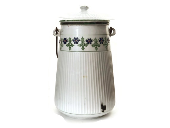 Antique B B Freres Enamel Milk Can