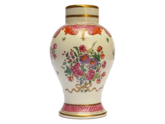 Antique French Porcelain Vase with Hand Painted Flowers By Edme Samson in Famille Rose Pattern