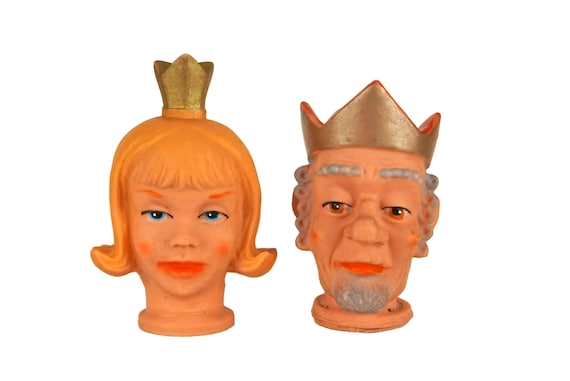 King and Queen Toy Hand Puppet Set, Vintage Kids Room Decor