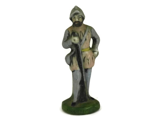 Scheibe Alsbach Miniature Porcelain Soldier, Military Collectible Arquebusier Figurine