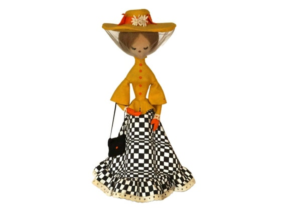 1970s Fashion Doll Table Lamp by Sylvain Deschamps, Vintage French Home Decor, Girls Room Desk Light