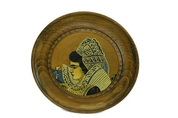 French Breton Souvenir Plate with Woman Portrait. Wooden Brittany Wall Hanging.