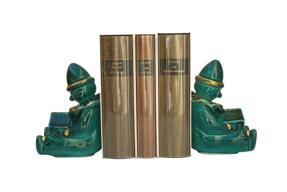 Mid Century Ceramic Clown Figurine Bookends, French Pottery Kids Room and Bookcase Decor