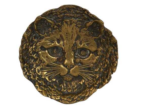 Bronze Cat Face Ring Dish, Vintage French Jewelry Tray, Animal Coin Bowl, Cat Lover Gift