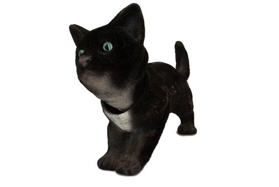 Vintage Black Cat Car Nodder, Nodding Bobble Head Animal Figure