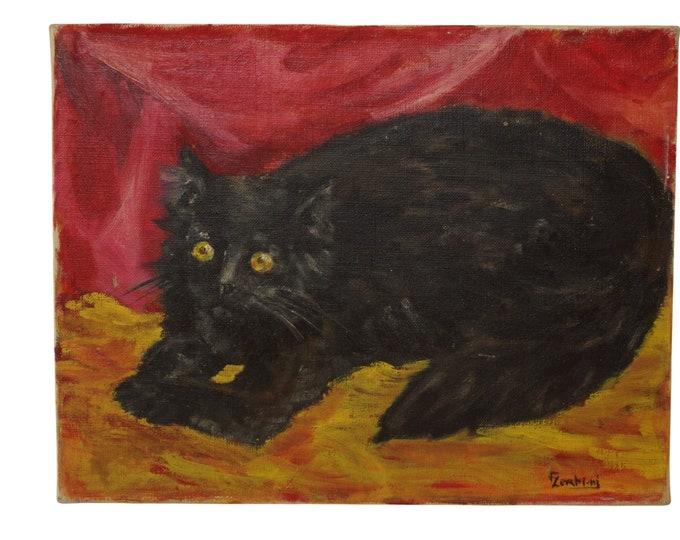 French Black Cat Portrait Painting, Mid Century Pet Art