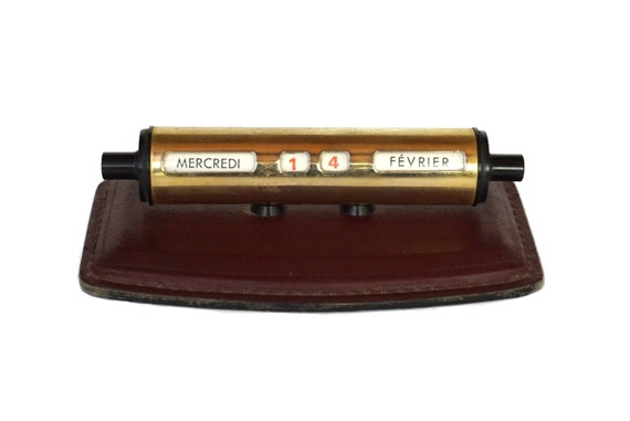 Art Deco Perpetual Desk Calendar with Leather Base, French Office Accessory and Decor