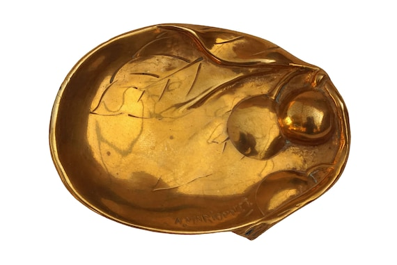 Art Nouveau Bronze Ring Dish, Coin Tray with Cherr