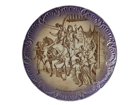 Saint Joan of Arc Antique Transferware Plate, French Jeanne D'Arc Home Wall Decor