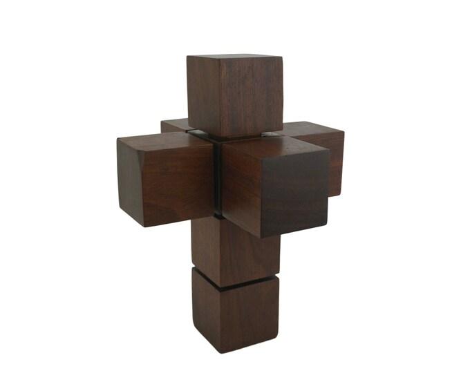 Mid Century Teak Hypercube Cross Sculpture, 3D Geometric Art, After Corpus Hypercubus by Salvador Dali