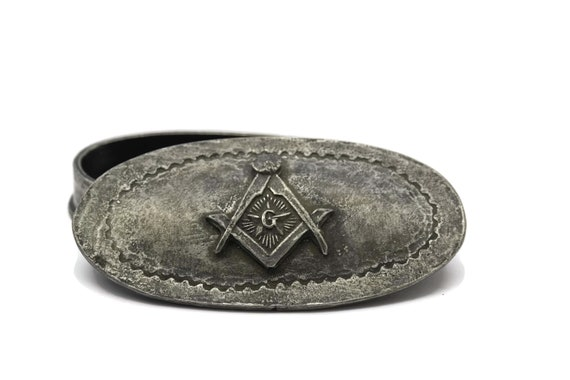 Vintage Masonic Jewelry Box. French Pewter Free Mason Trinket Box with Masonic Symbols. Gifts for Him.
