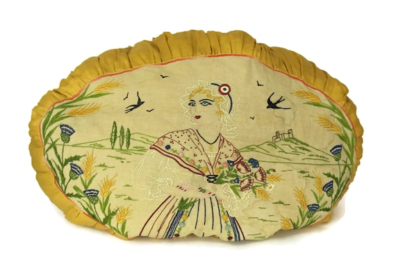 Antique Pillow with French Embroidery. Art Deco Cushion with Needlework Lady Portrait and Flowers. Yellow Home Decor.