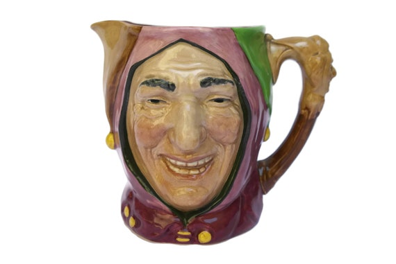 Royal Doulton Character Pitcher of Touchstone Court Jester, Vintage Toby Jug Majolica Face Jug