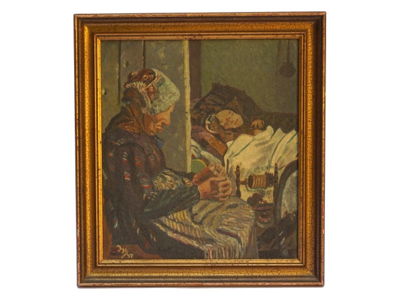 Old Lady Portrait Painting with Spinning Wheel, Original Signed Art, Craft Room Wall Decor