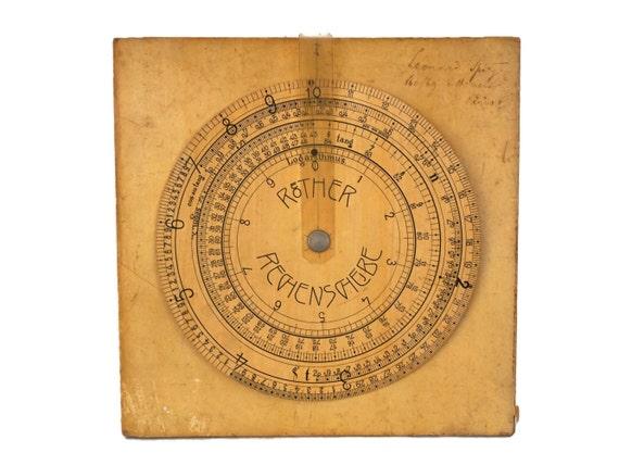 Antique German Circular Slide Ruler, Röther Rechenscheibe Logarithmic Calculator