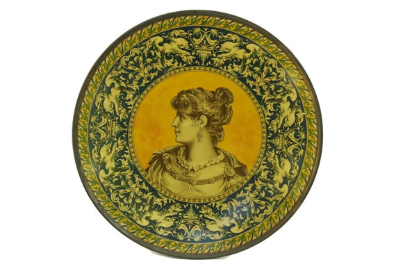 Classical Greek Lady Portrait Art Plate, Antique Litho Tin Charger