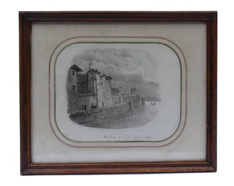 Antique French Drawing of Lyon in Wooden Frame, 19th Century French Art Pencil Drawing