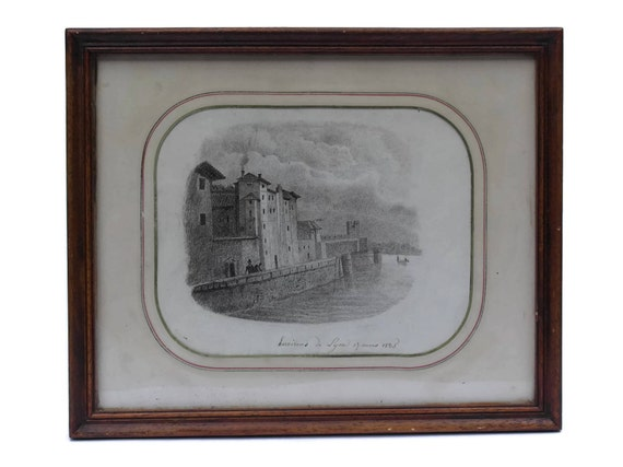 1835 Antique French Drawing of Lyon in Wooden Frame. 19th Century French Art Pencil Drawing.