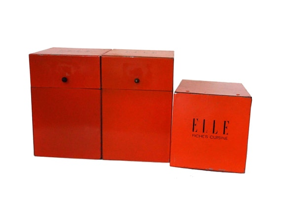 Recipe Organizer Box Set, French Elle Magazine Kitchen Canister Tins