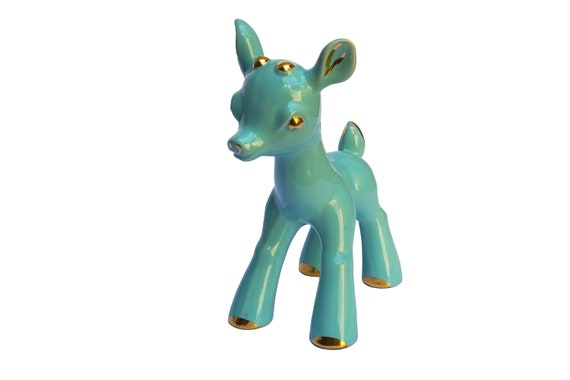 Art Deco Bambi Figurine, Ceramic Deer Statuette