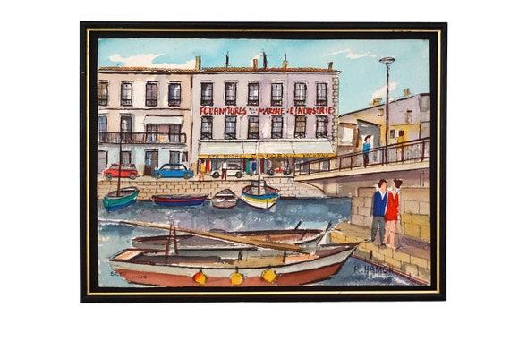 Roland Hamon Harbor and Sailing Boat Painting, Original French Mediterranean Coastal Art