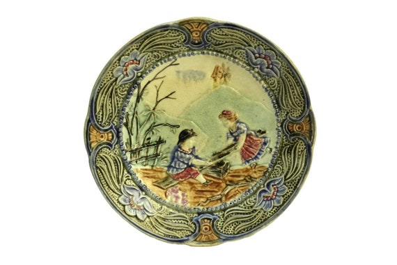 Antique Wasmuel Majolica Wall Plate with Girl & Boy on See-saw, Art Nouveau Ceramic Flower Decor