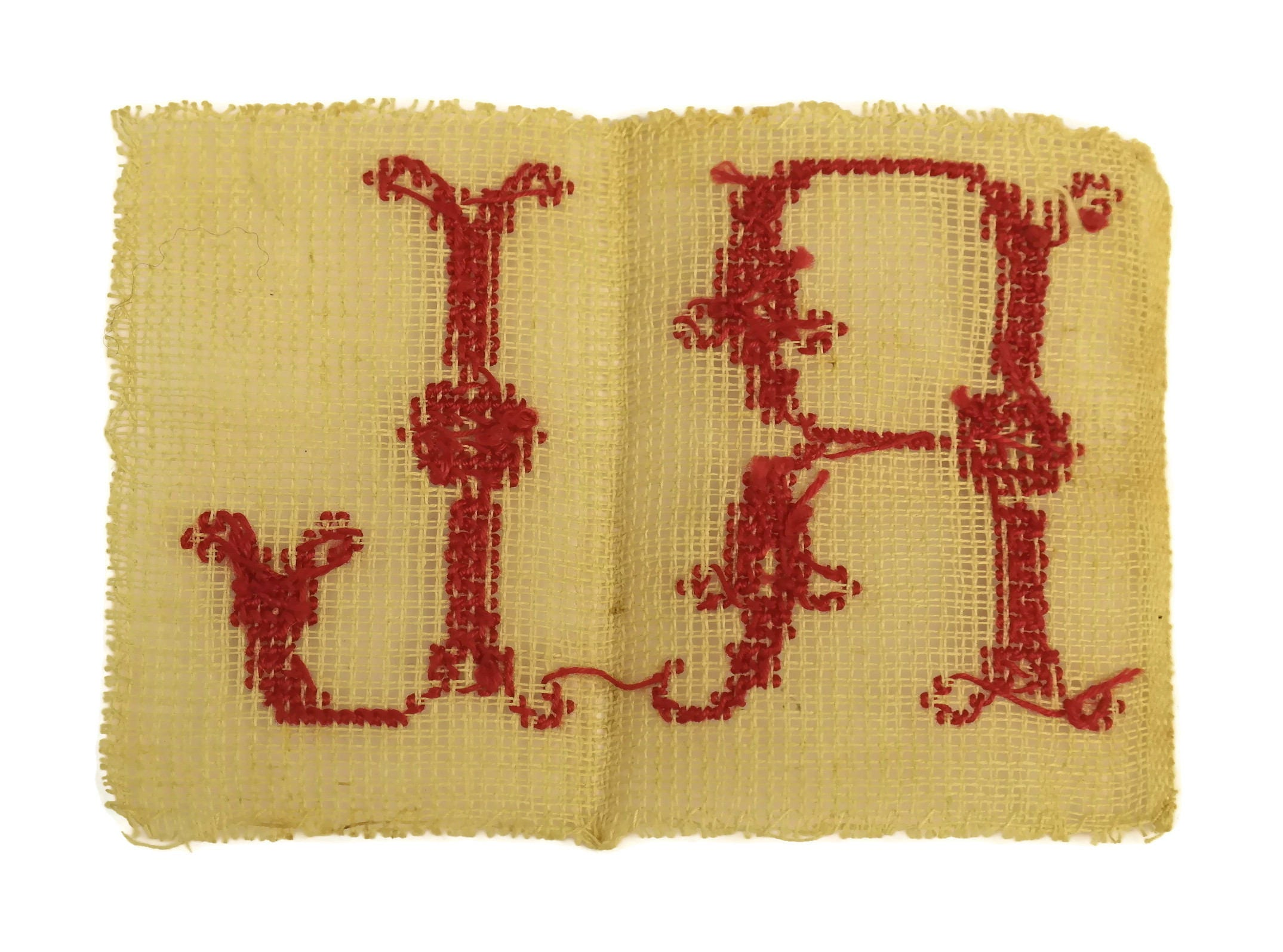Antique Monogram Initials M R L . Redwork Sampler French Cross ...
