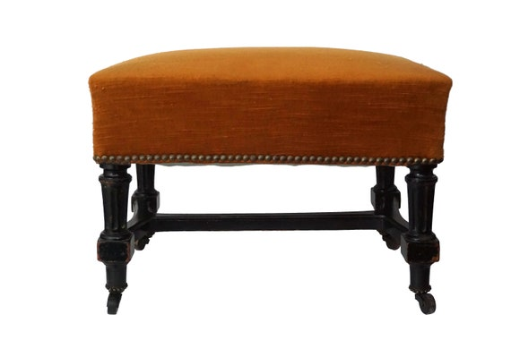 Antique French Footstool on Casters, 19th Century Victorian Wooden Foot Rest Stool on Wheels