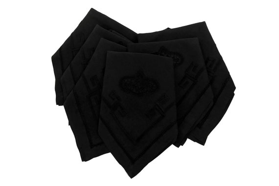French Art Deco Linen Embroidered Napkins, Set of 6
