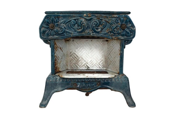French Antique Enamel Radiator Heater by Clamond, Cast Iron Architectural Salvage