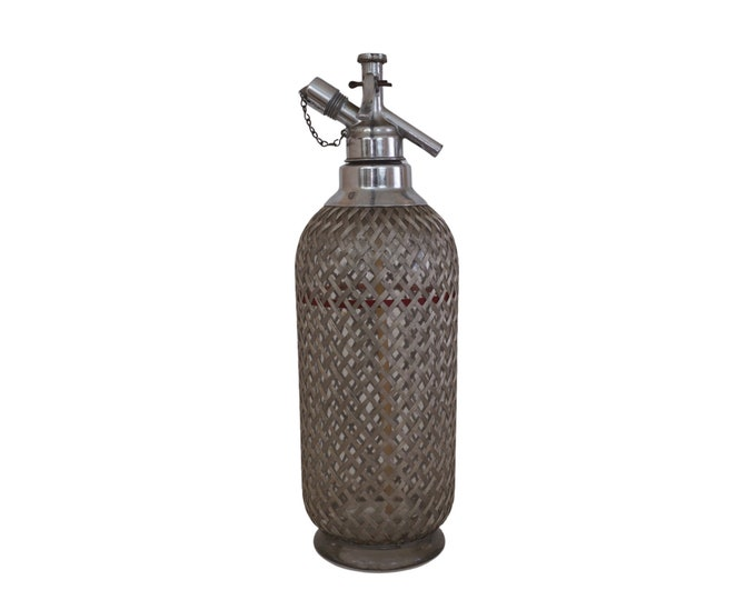 Sparklets Soda Seltzer Syphon Bottle with Woven Wire Mesh, Made in England