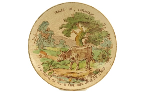 Fables of La Fontaine Antique Wall Plate, The Frog and The Ox