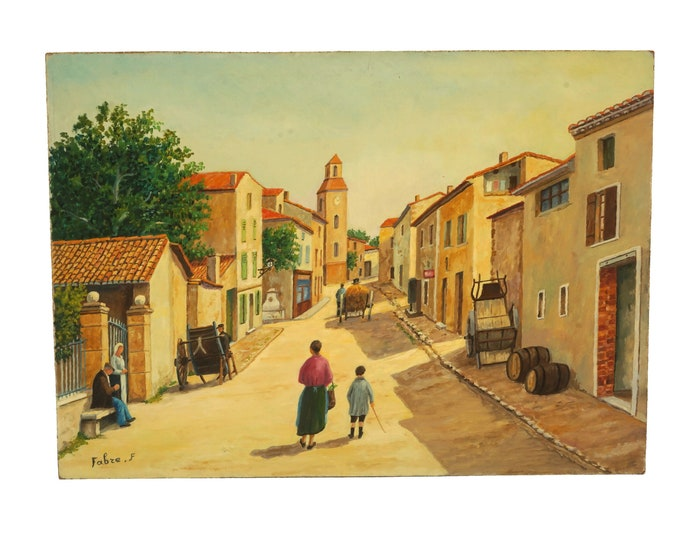 French Provence Country Village Painting, Original Signed Art