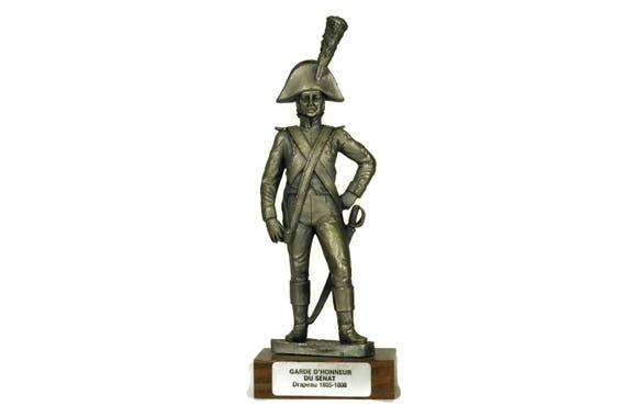 Vintage French Pewter Soldier Figurine, Military Model by Etains du Prince, Collectible Figure of Senate Guard of Honour
