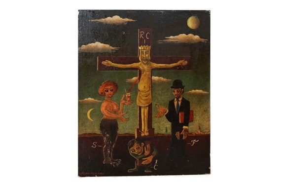 Surrealist Art Crucifixion of Jesus Christ, Signed Ganteaume, Wall Hanging Art with Satyr and Demon